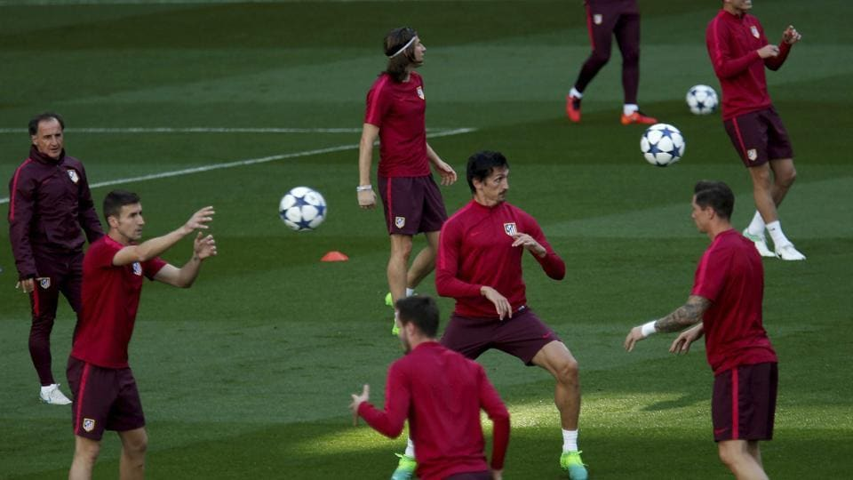 Atletico Madrid players during a training session at the Santiago Bernabeu stadium on Tuesday morning, just hours ahead of their UEFA Champions League first leg semifinal match against Real Madrid C.F.
