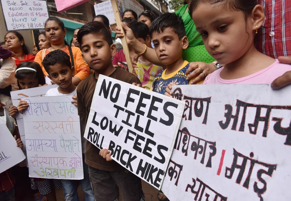 Students and parents protest against fee hike at Indian Education Society (IES) at Dadar.