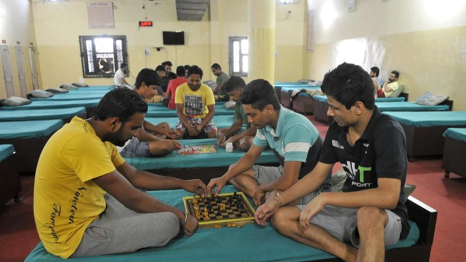 Addicts undergoing treatment playing carrom at the Growth Foundation centre in Ludhiana.
