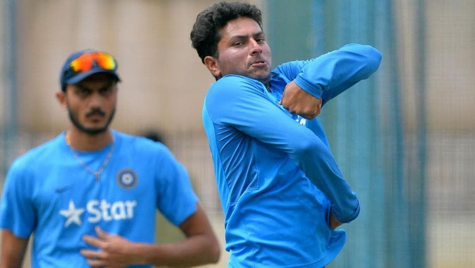 Kuldeep Yadav bowls in the nets during a practice session prior to the second Test match between India and Australia at The M. Chinnaswamy Stadium in Bangalore on March 2, 2017. Kuldeep Yadav is currently playing for Kolkata Knight Riders in the Indian Premier League