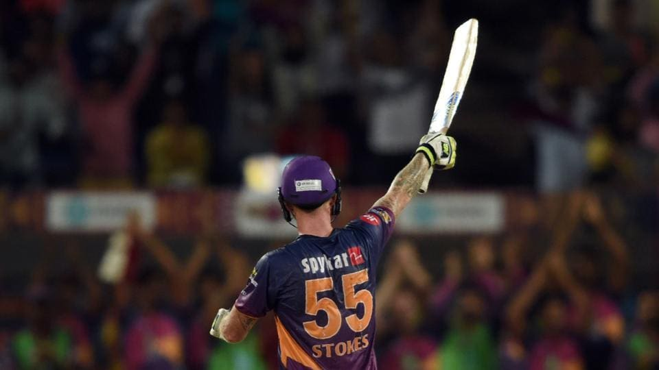 Rising Pune Supergiant's (RPS) Ben Stokes celebrates after scoring a century against Gujarat Lions (GL) in their 2017 Indian Premier League (IPL) match at the Maharashtra Cricket Association Stadium in Pune on Monday.