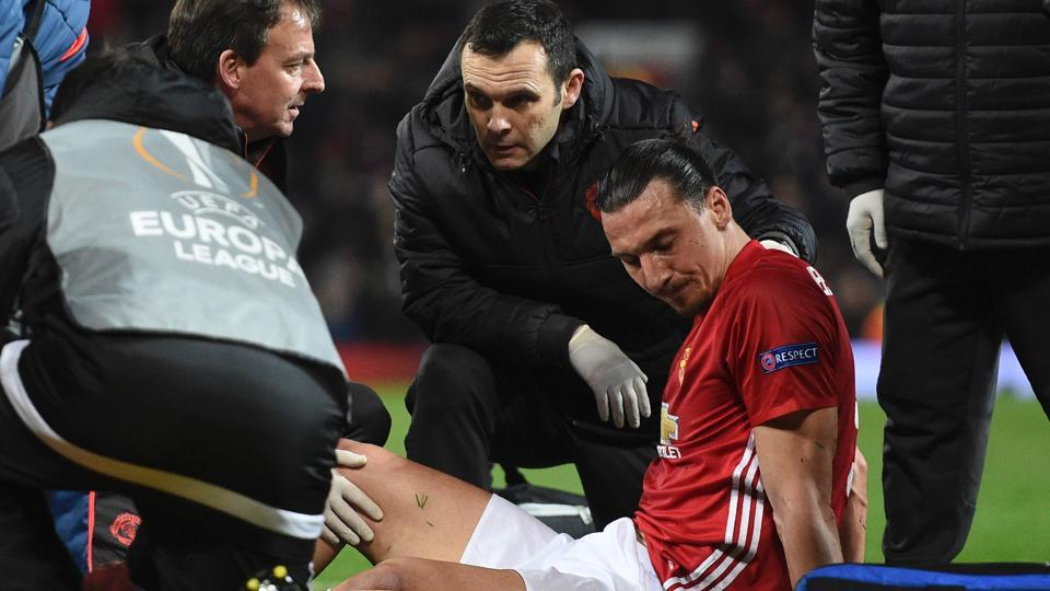 Zlatan Ibrahimovic's had sustained knee ligament damage during Manchester United's Europa League quarter-final win over Anderlecht last month.