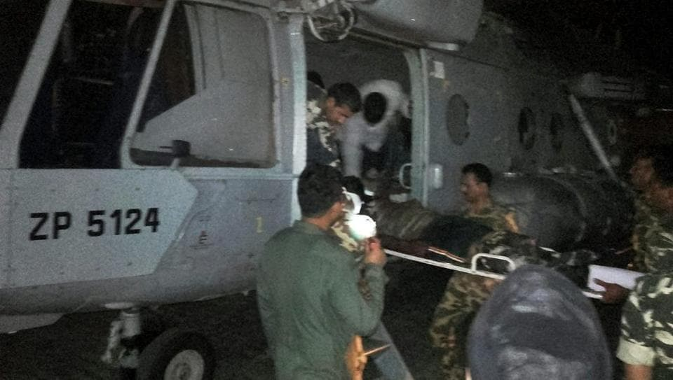 Injured CRPF soldiers being airlifted to Raipur by an IAF chopper for treatment following a Maoist attack in Sukma district.