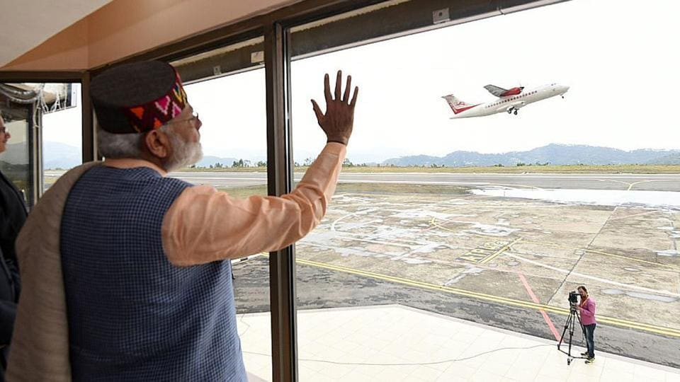 Prime Minister Narendra Modi during the launch of UDAN, the regional connectivity scheme for civil aviation, at Jubbarhatti airport near Shimla.