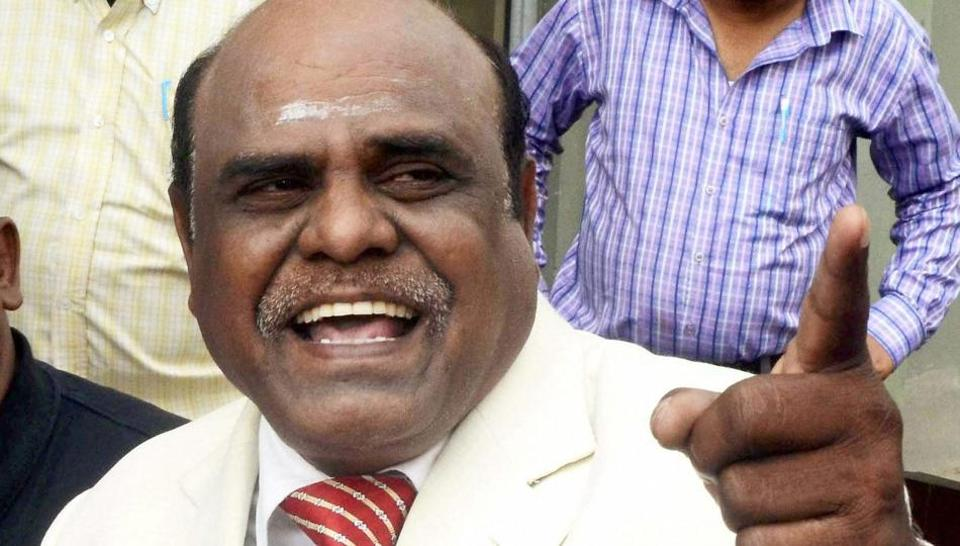 Justice CS Karnan of Calcutta high court addresses a press conference at his residence in New Town near Kolkata.