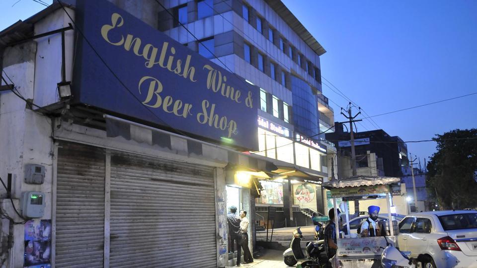 A closed liquor shop in Ludhiana on Monday.