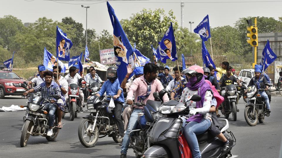 Bahujan Samaj Party supporters campaign during municipal corporation election in Pandav Nagar.