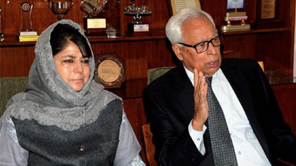 Jammu and Kashmir governor NN Vohra, seen here with chief minister Mehbooba Mufti, met Union home minister Rajnath Singh.