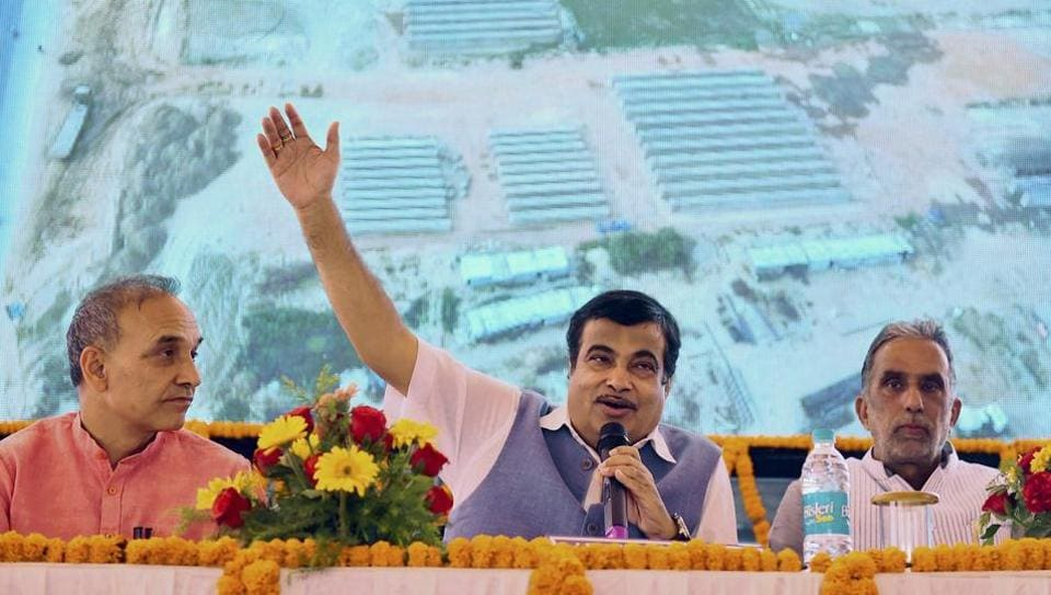 Union transport minister Nitin Gadkari interacts with the media in Baghpat.