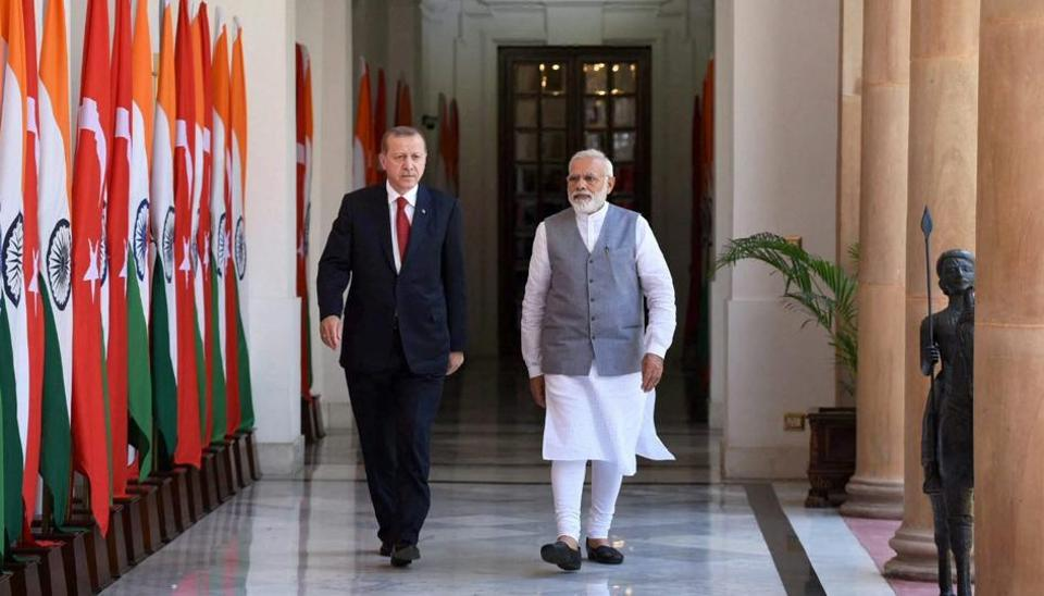 Prime Minister Narendra Modi with President of Turkey, Recep Tayyip Erdogan at Hyderabad House in New Delhi on Monday.