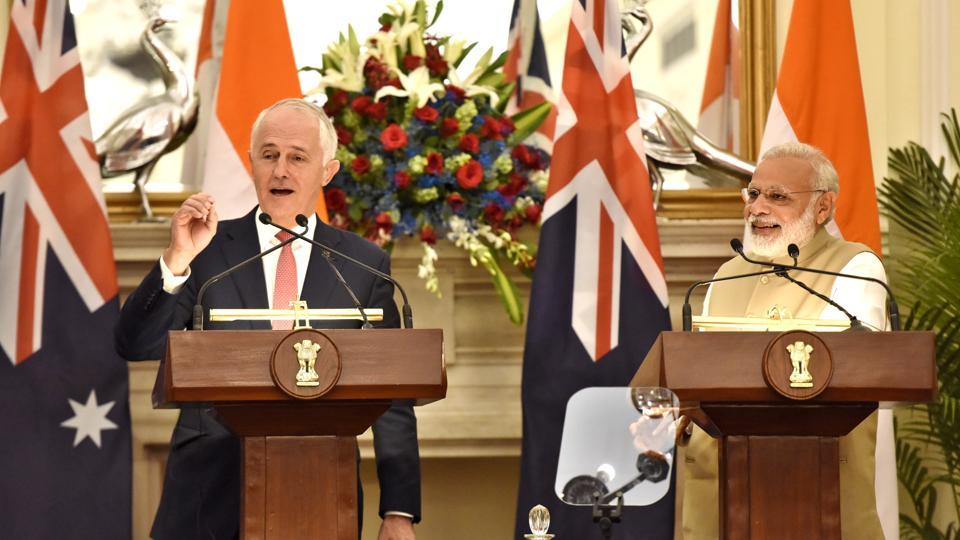 Prime Minister Narendra Modi and his Australian counterpart Malcolm Turnbull during delegation level talks at Hyderabad House in New Delhi in April.