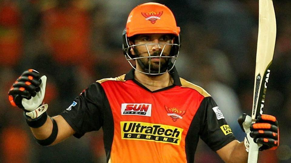 Yuvraj Singh of Sunrisers Hyderabad celebrates after reaching his fifty against Delhi Daredevils.