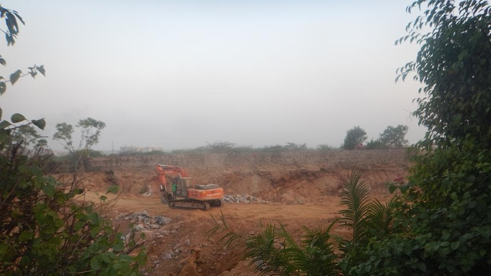 Environmentalists allege illegal stone mining is being carried out in two acres on the Surajkund-Badkhal road in Faridabad.
