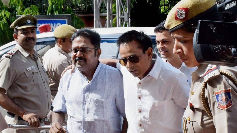 AIADMK leader TTV Dinakaran being produced in Tis Hazari court in New Delhi on Wednesday.