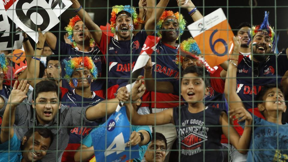 Fans during the IPL 2017 match between Delhi Daredevils and Kings XI Punjab at Feroz Shah Kotla in Delhi on April 15.  Delhi Daredevils are eighth and last in the IPL points table