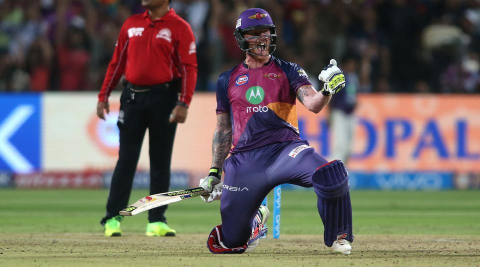 Ben Stokes slammed his maiden IPLcentury as Rising Pune Supergiant secured their first-ever win over Gujarat Lions with a five-wicket win which knocked Royal Challengers Bangalore out of the play-off race.