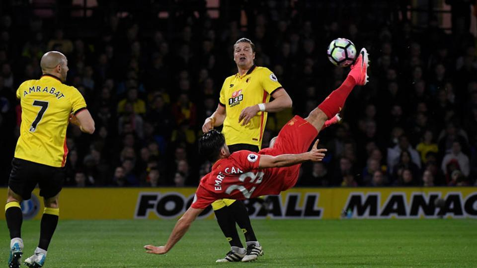 Liverpool F.C.'s Emre Can scores the goal against Watford during their English Premier League match on Monday.