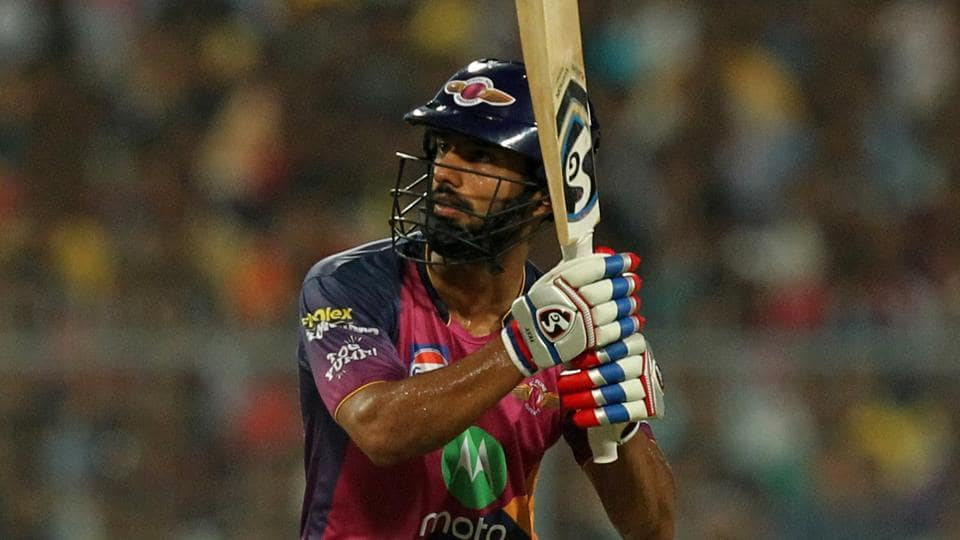Rahul Tripathi of Rising Pune Supergiant hits a six during the 2017 Indian Premier League match against Kolkata Knight Riders at Eden Gardens, Kolkata on Wednesday. Get full cricket score of Kolkata Knight Riders vs Rising Pune Supergiant here.