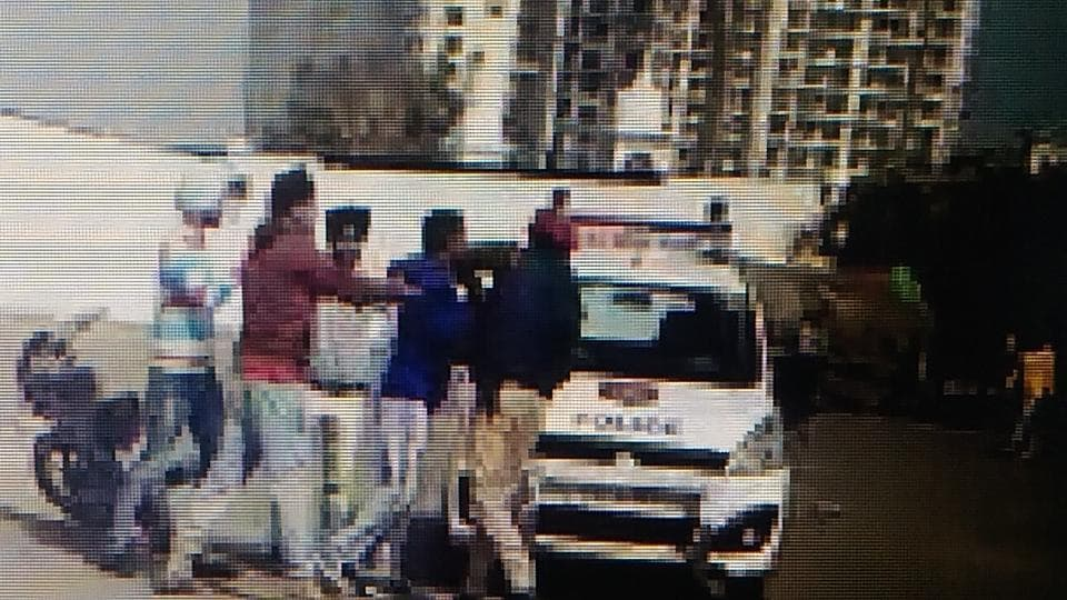 Video grabs of the youths thrashing the PCR constable near Gurdwara Singh Shaheedan in Sohana, SAS Nagar.
