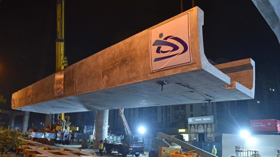 The first U girder of Metro-7 launched on Tuesday.