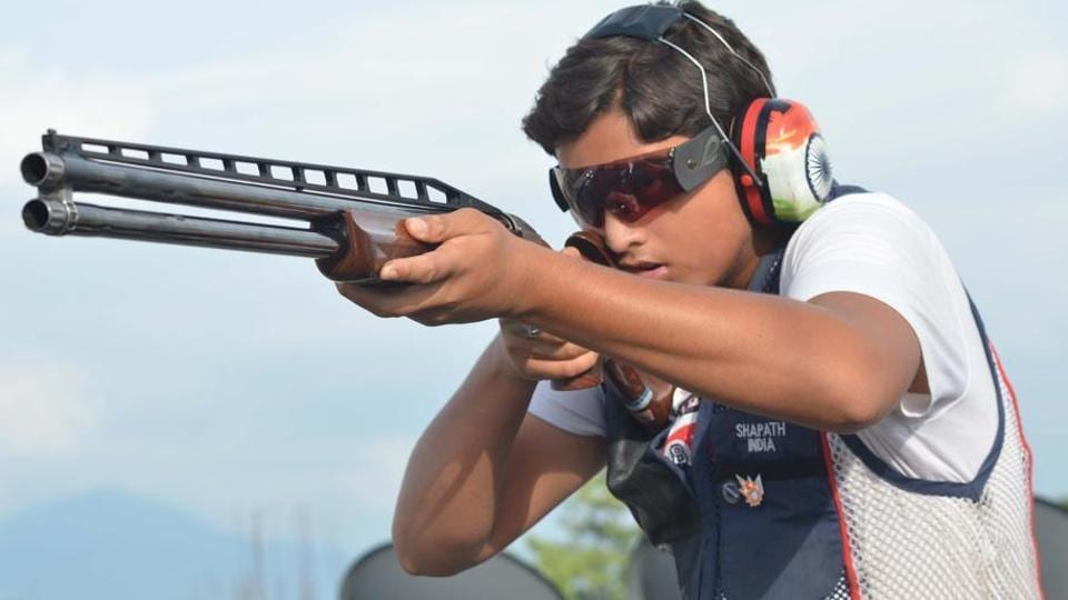 Shapath Bharadwaj finished the double trap event with a score of 135.
