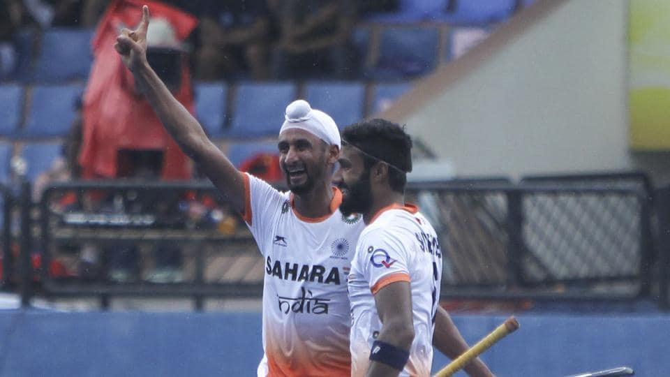 Indian hockey team striker Mandeep Singh celebrates after scoring against Japan hockey team during their match at the Sultan Azlan Shah Cup tournament in Ipoh, Malaysia, on Wednesday.