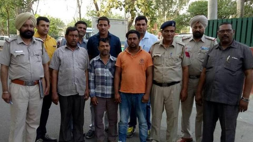 The three accused in Chandigarh police custody on Tuesday.
