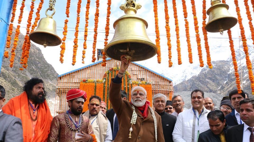 Prime Minister Narendra Modi outside the Kedarnath temple after offering prayers on Wednesday.