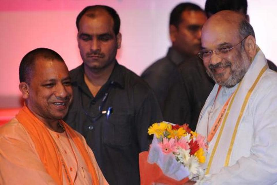 BJP chief Amit Shah being welcomed by chief minister Yogi Adityanath in Lucknow on Tuesday.
