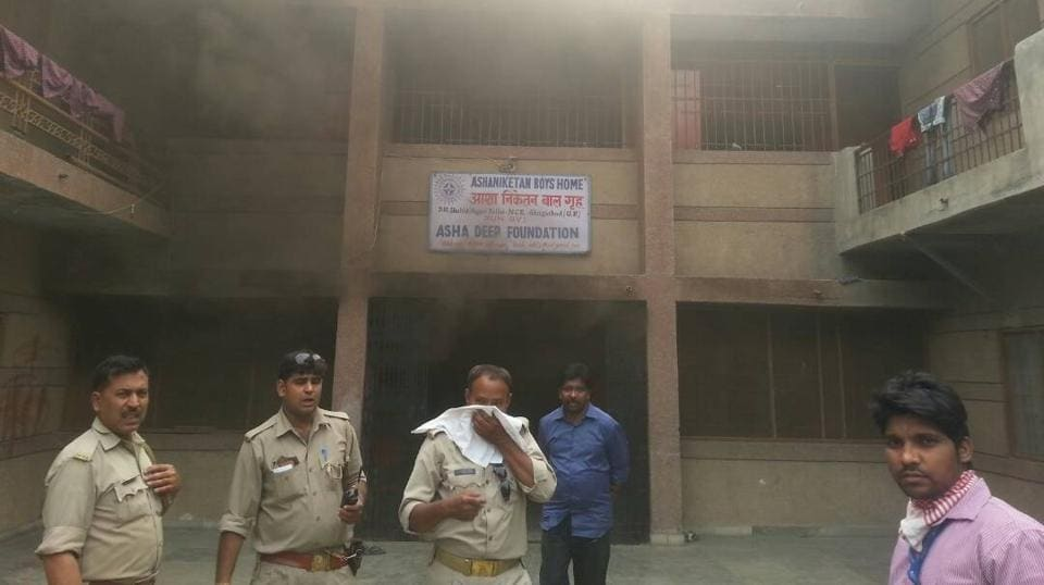 Bedrolls kept in one of the boys' rooms at Asha Niketan Boys' Home inSahibabad caught fire.