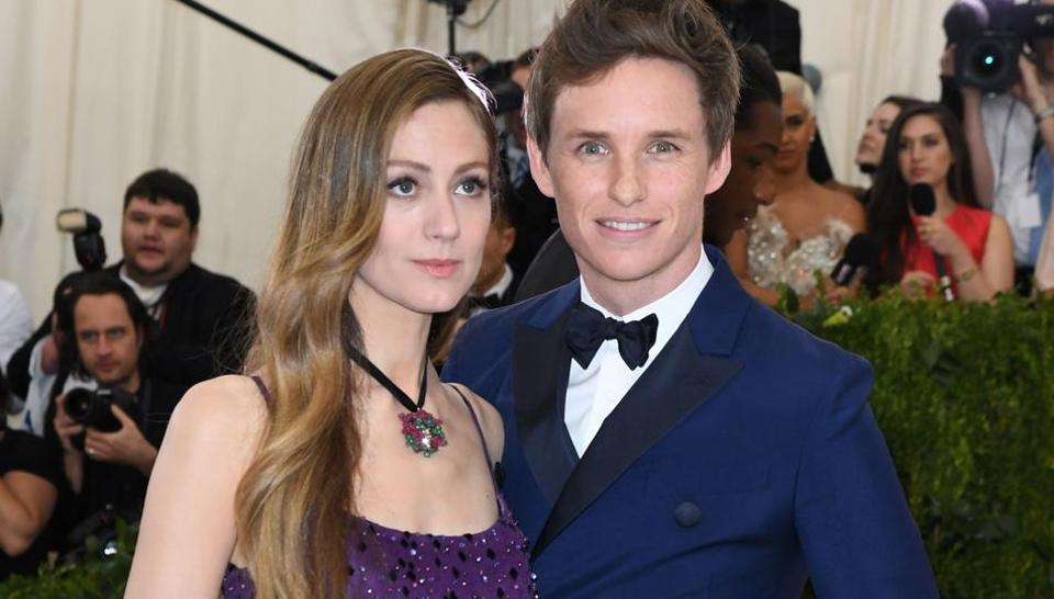 Hannah Bagshawe (L) and Eddie Redmayne arrive for the Costume Institute Benefit on May 1, 2017, at the Metropolitan Museum of Art in New York.