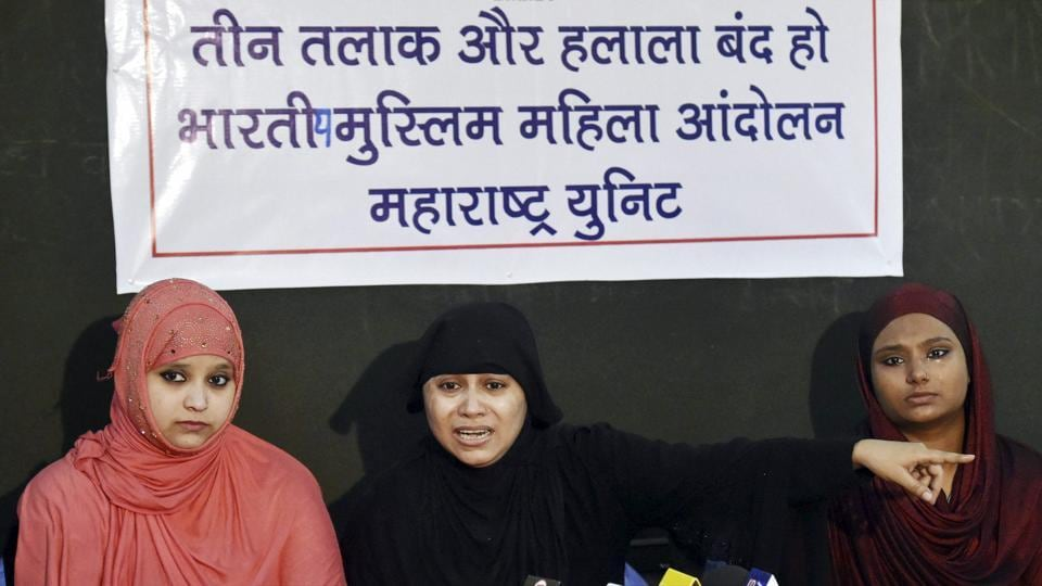 Bharatiya Muslim Mahila Andolan (Maharashtra) members addressing a press conference, demanding an end to  the controversial practice of triple talaq.