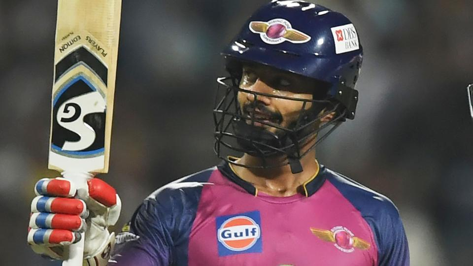Rising Pune Supergiants cricketer Rahul Tripathy celebrate after scoring his fifty against Kolkata Knight Riders during their IPL 2017 encounter.