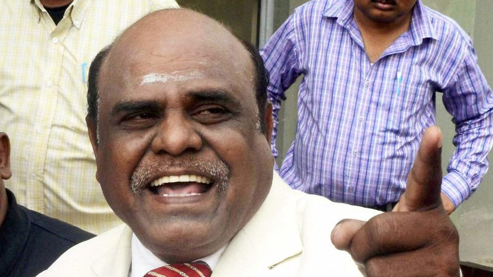 Justice CS Karnan of Calcutta High Court addressing a press conference at his residence in New Town near Kolkata.