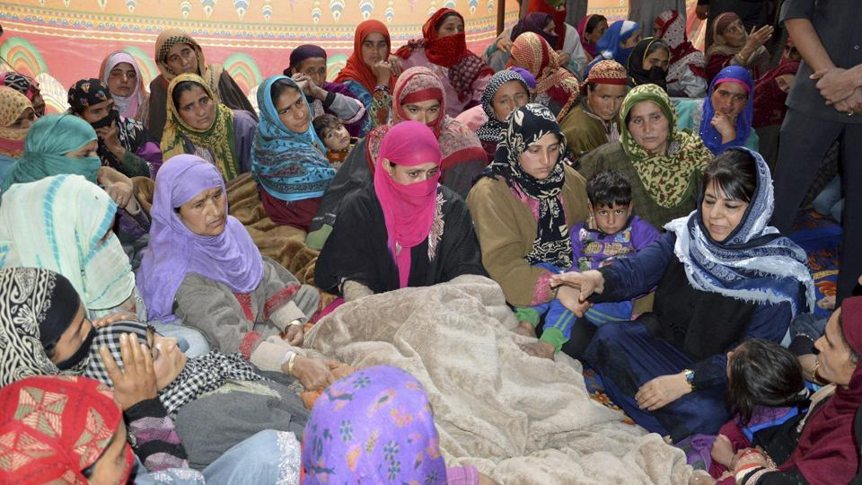 Jammu and Kashmir chief minister Mehbooba Mufti visits the family of JK Bank employee who was killed by the suspected militants during their cash van loot, in Kulgam district of south Kashmir on Wednesday.