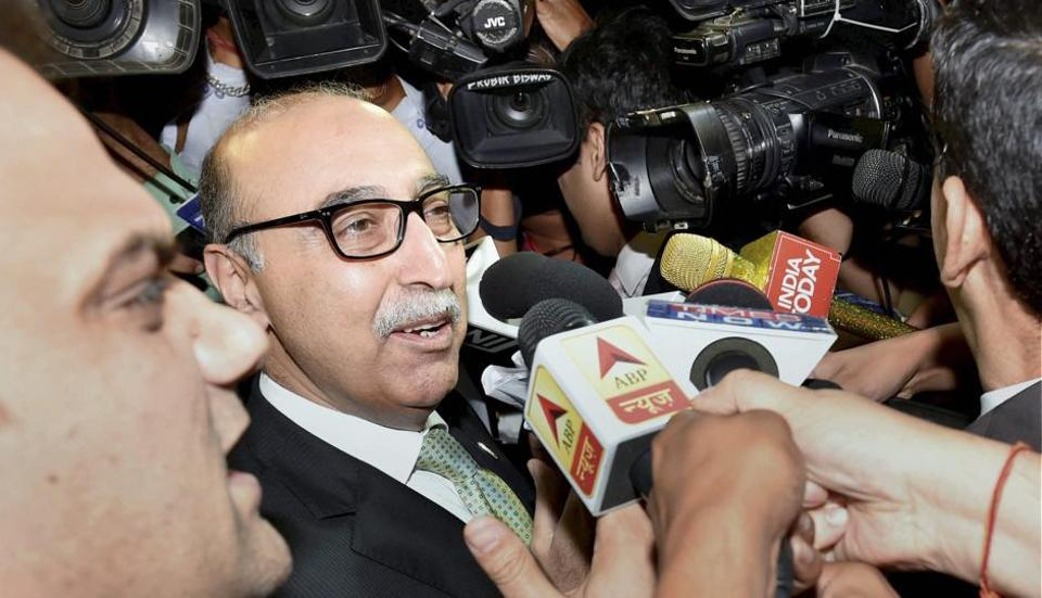 Pakistan high commissioner Abdul Basit talks to the media after attending a programme in New Delhi