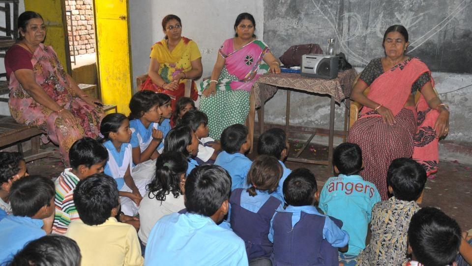 Students at a government secondary school in Jaipur.