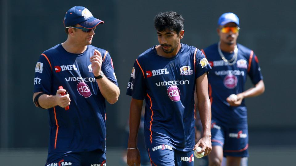 Jasprit Bumrah has taken 12 wickets from 10 games for Mumbai Indians in IPL 2017 so far. Former Kiwi speedster Shane Bond (left) feels Bumrah is an automatic choice for Indian cricket team for the ICC Champions Trophy in June