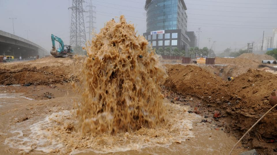 The master water line was damaged again during digging work for flyover construction at Iffco Chowk onWednesday. This will affect supply to Sushant Lok1, DLF and Essel Towers.