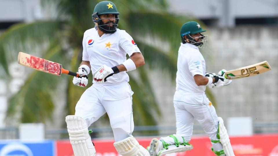 Misbah-ul-Haq (left) and Azhar Ali's partnership on Tuesday ensured of Pakistan cricket team took a 81-run first innings lead against West Indies cricket team in the second Test at Kensington Oval, Bridgetown, Barbados.