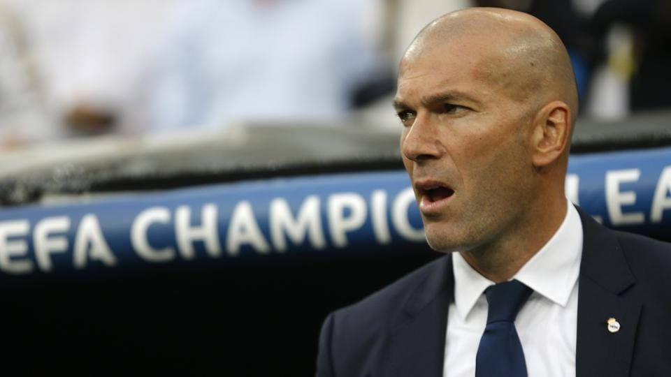 Real Madrid's head coach Zinedine Zidane during his team's Champions League semifinal first leg soccer match against Atletico Madrid.