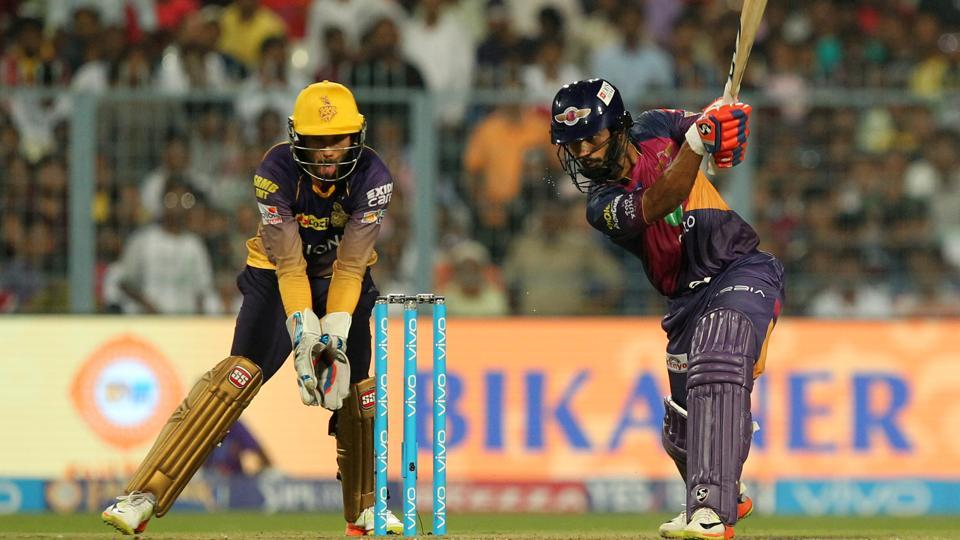 Rahul Tripathi of Rising Pune Supergiant hits a shot during the 2017 Indian Premier League match against Kolkata Knight Riders at Eden Gardens, Kolkata on Wednesday.