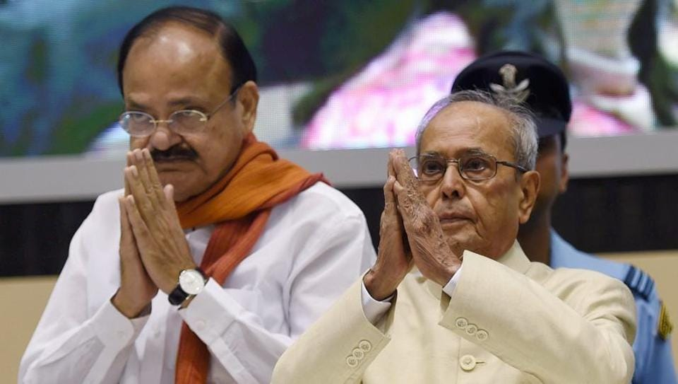 Union minister M Venkaiah Naidu, seen with President Pranab Mukherjee at the 64th National Film Awards function in New Delhi, Make in India is reflected in all the movies nowadays.