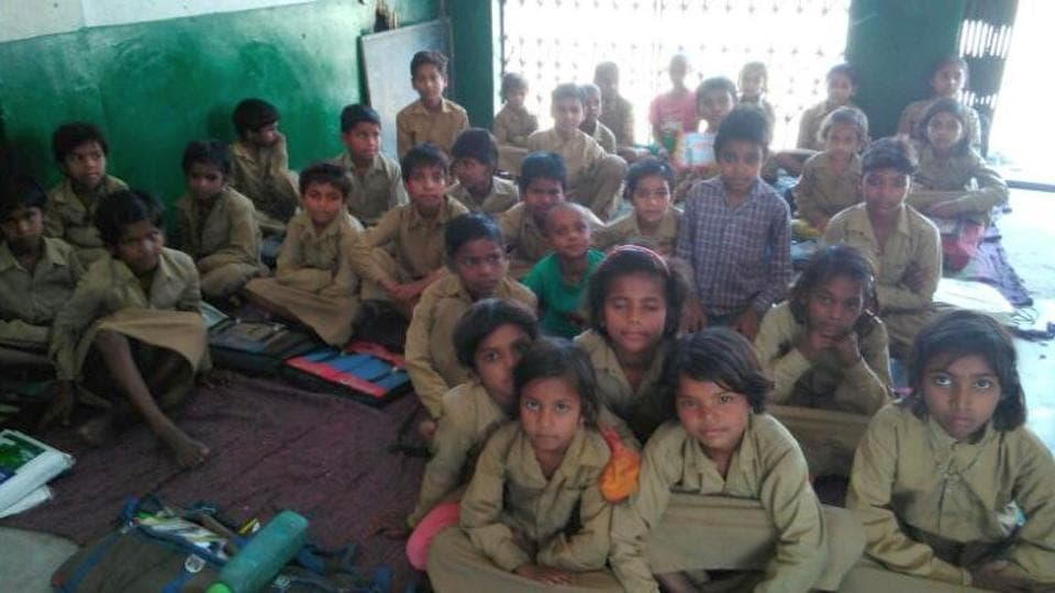Students at a government primary school in Allahabad.