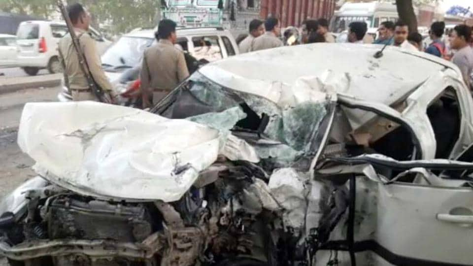 The incident took place around 6pm when the Swift car was heading from Meerut towards Ghaziabad and the driver lost balance. The car skidded, jumped over the low dividers and hit a private bus coming from the opposite direction on the other side of the road.