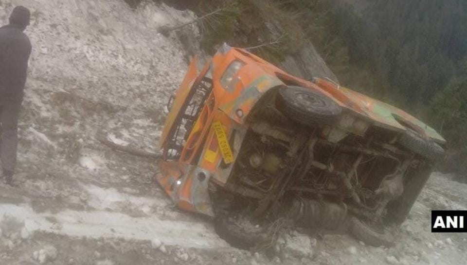 The minibus that plunged into a gorge in Bhaderwah, killing four people. One more was killed in another accident in Mandi area.