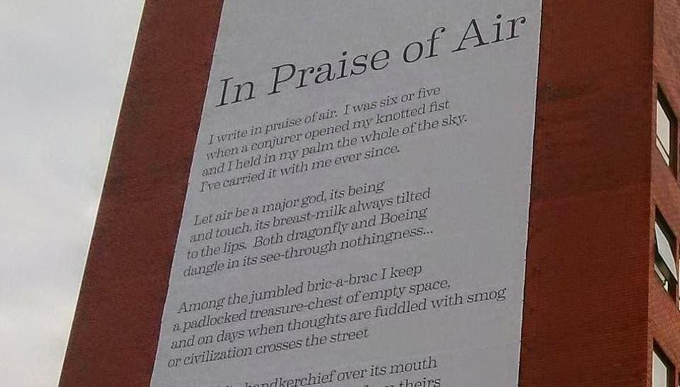 The poem 'In Praise of Air', the world's first catalytic poem, is mounted on the wall in a building in University of Sheffield.