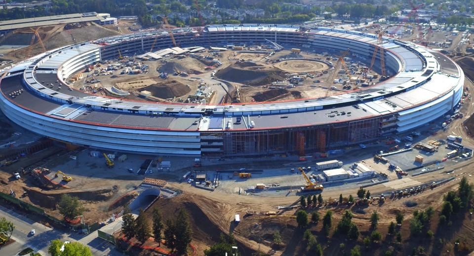 Apple's new campus at the One Infinity Loop in Cupertino, California is seen. The iPhone-maker is expected to start a $1 billion advanced manufacturing fund.