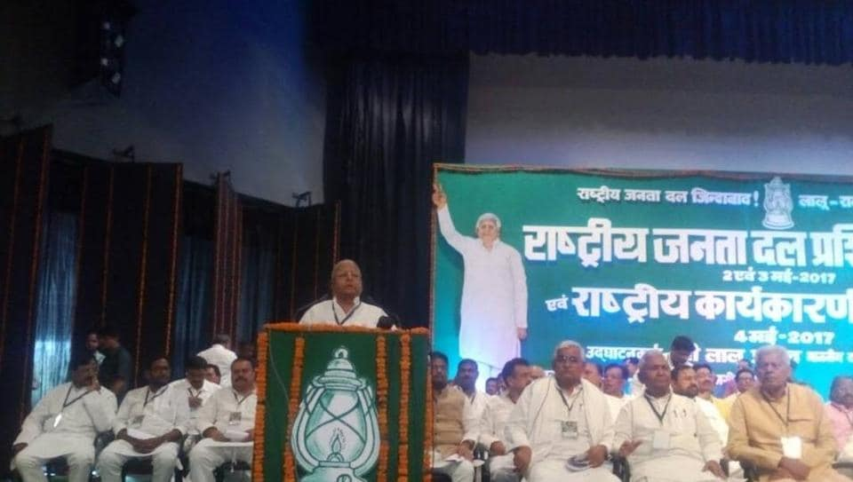 RJD chief Lalu Prasad addressing his party's national  committee meeting, at Rajgir on Thursday.