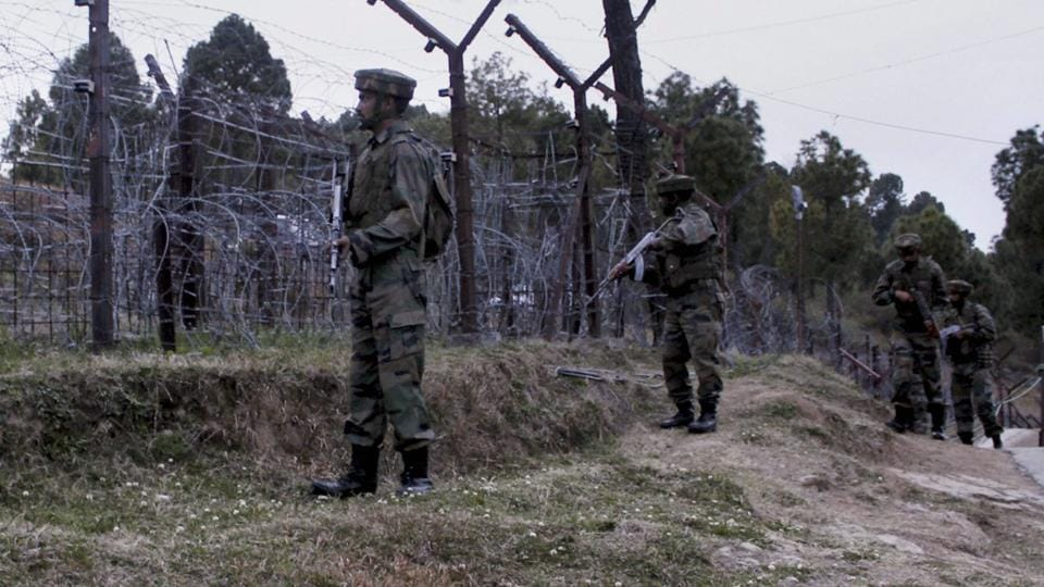 Indian Army soldiers patrol along the Line of Control (LOC) in Poonch district of Jammu and Kashmir on Wednesday, days after ceasefire violations by the Pakistan Army in Krishna Ghati sector.